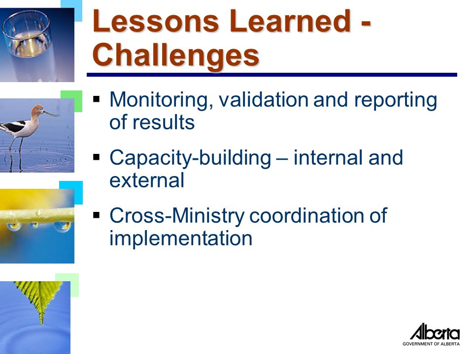 Lessons Learned - Challenges  Monitoring, validation and reporting of results  Capacity-building – internal and external  Cross-Ministry coordination of implementation