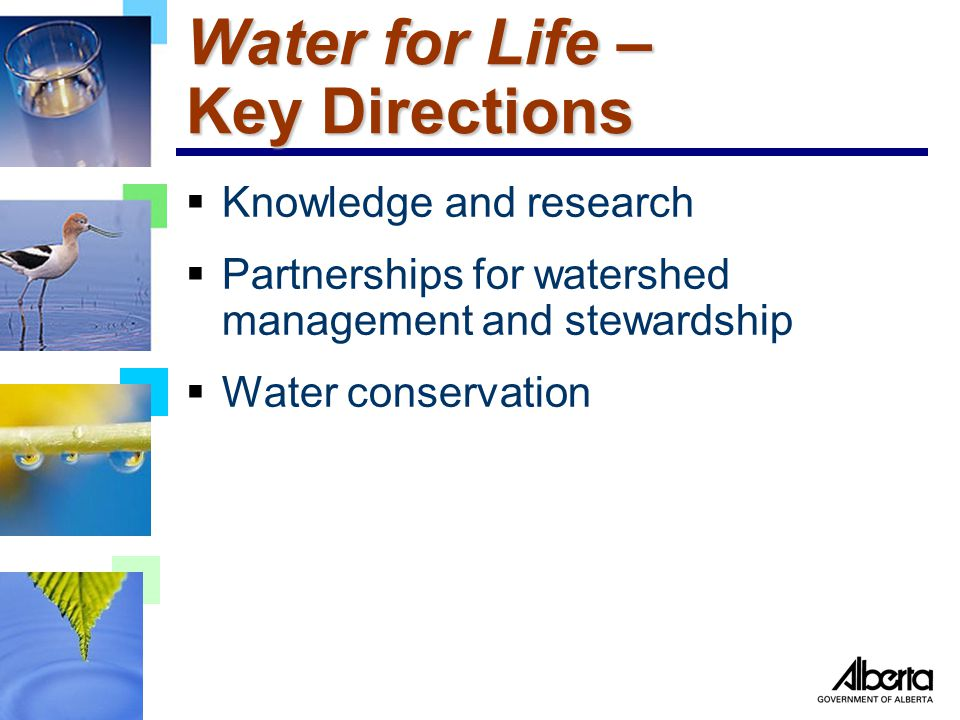 Water for Life – Key Directions  Knowledge and research  Partnerships for watershed management and stewardship  Water conservation