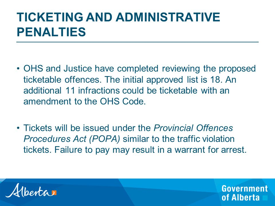 TICKETING AND ADMINISTRATIVE PENALTIES OHS and Justice have completed reviewing the proposed ticketable offences.