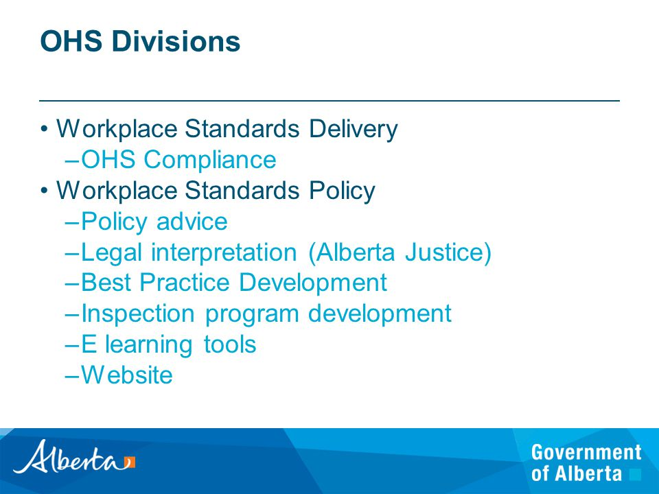 OHS Divisions Workplace Standards Delivery –OHS Compliance Workplace Standards Policy –Policy advice –Legal interpretation (Alberta Justice) –Best Practice Development –Inspection program development –E learning tools –Website
