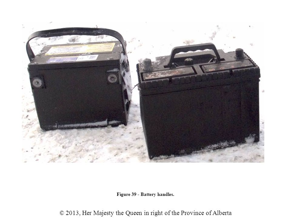 © 2013, Her Majesty the Queen in right of the Province of Alberta Figure 39 - Battery handles.