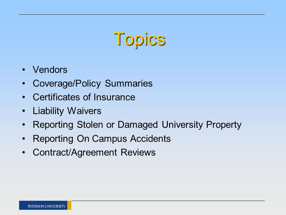 Insurance Topics Vendors Coveragepolicy Summaries Certificates Of