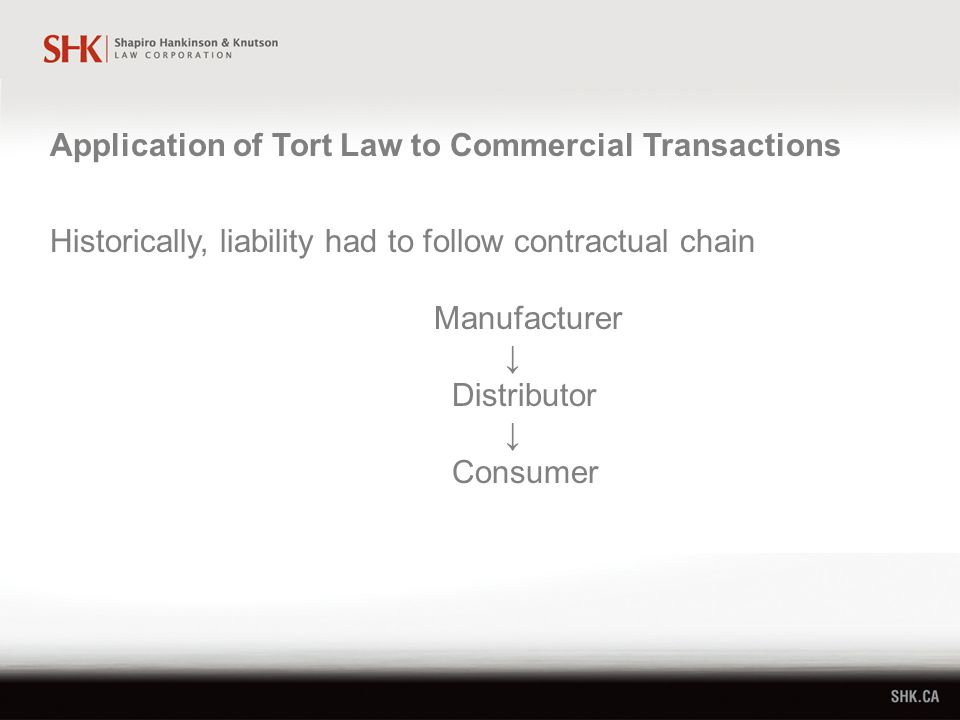 Historically, liability had to follow contractual chain Manufacturer ↓ Distributor ↓ Consumer Application of Tort Law to Commercial Transactions