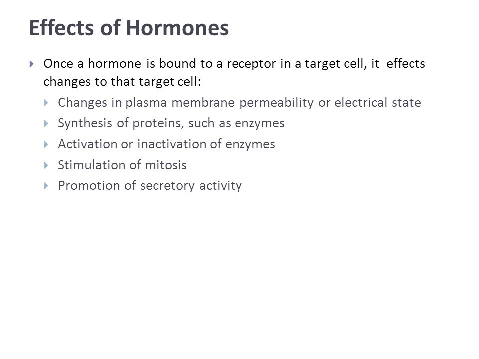 Effects of Hormones  Once a hormone is bound to a receptor in a target cell, it effects changes to that target cell:  Changes in plasma membrane permeability or electrical state  Synthesis of proteins, such as enzymes  Activation or inactivation of enzymes  Stimulation of mitosis  Promotion of secretory activity