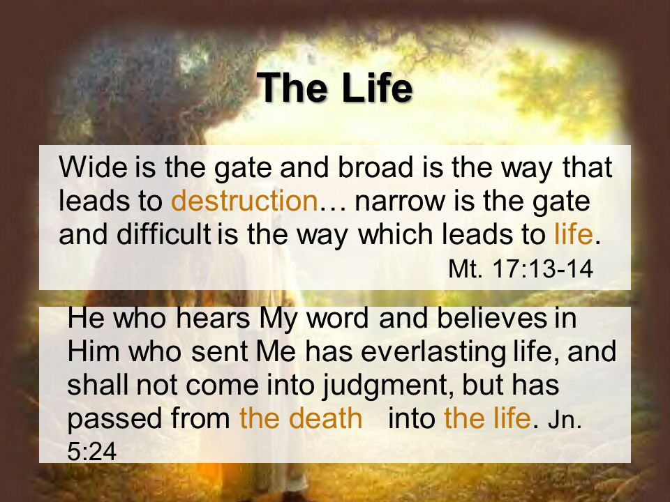Wide is the gate and broad is the way that leads to destruction… narrow is the gate and difficult is the way which leads to life.
