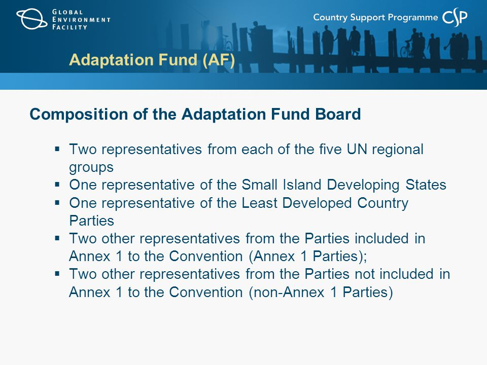 Adaptation Fund (AF) Composition of the Adaptation Fund Board  Two representatives from each of the five UN regional groups  One representative of the Small Island Developing States  One representative of the Least Developed Country Parties  Two other representatives from the Parties included in Annex 1 to the Convention (Annex 1 Parties);  Two other representatives from the Parties not included in Annex 1 to the Convention (non-Annex 1 Parties)