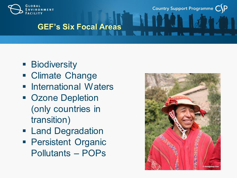 GEF's Six Focal Areas  Biodiversity  Climate Change  International Waters  Ozone Depletion (only countries in transition)  Land Degradation  Persistent Organic Pollutants – POPs