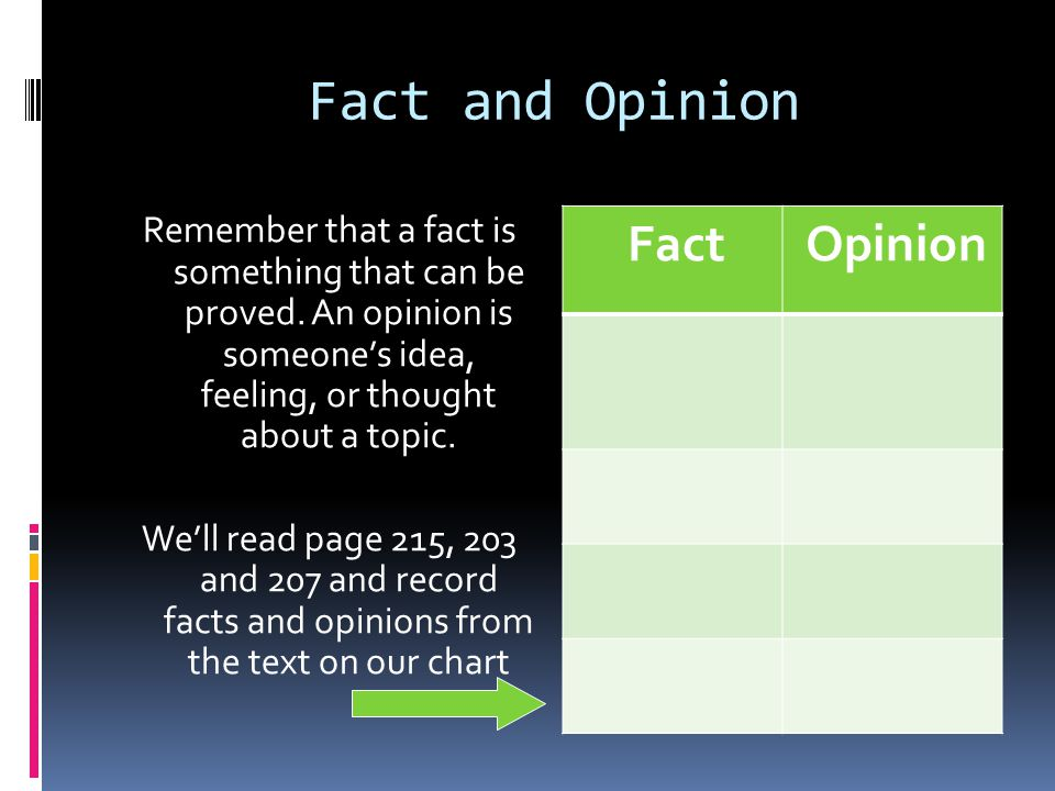 Fact and Opinion Remember that a fact is something that can be proved.