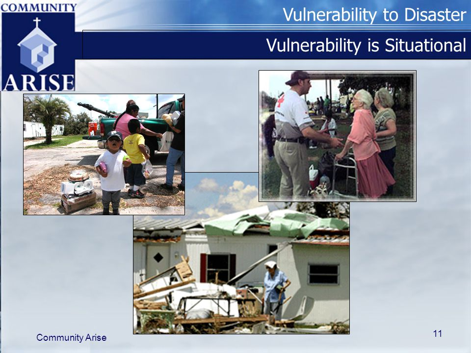 Vulnerability to Disaster Community Arise 11 Vulnerability is Situational