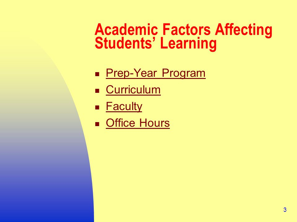 3 Academic Factors Affecting Students' Learning Prep-Year Program Curriculum Faculty Office Hours