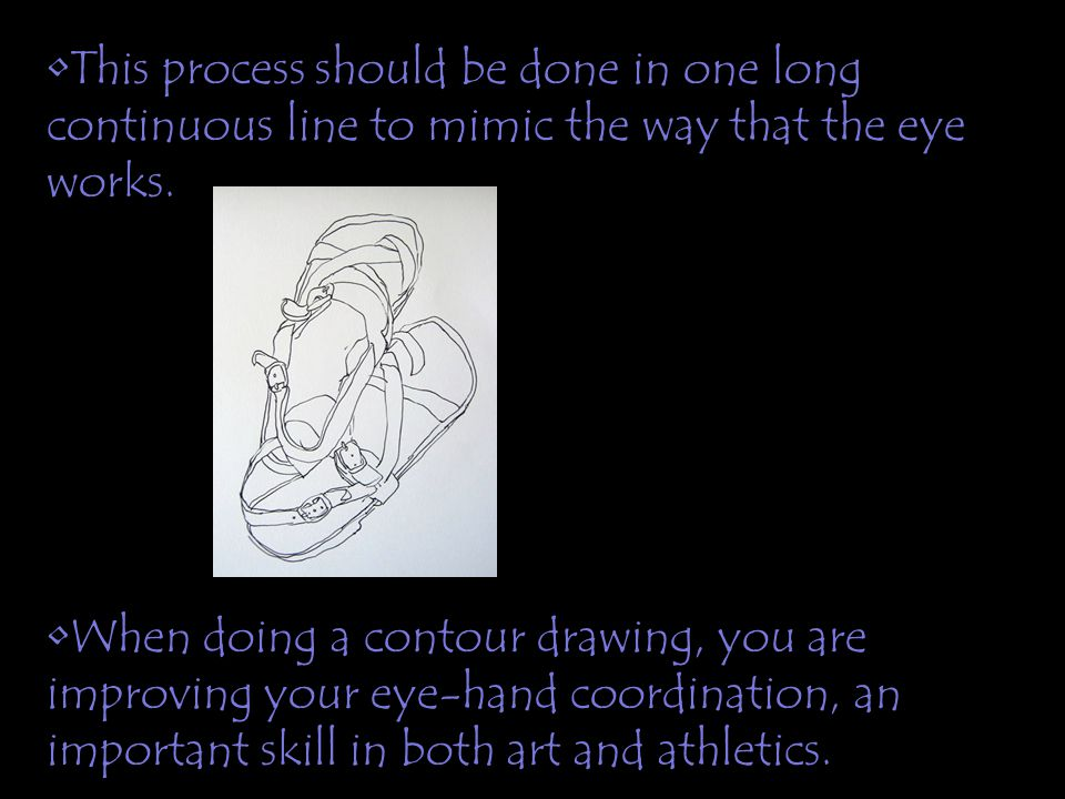 This process should be done in one long continuous line to mimic the way that the eye works.