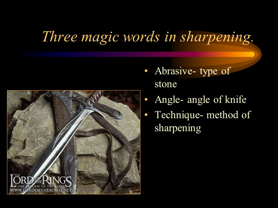 Three magic words in sharpening.