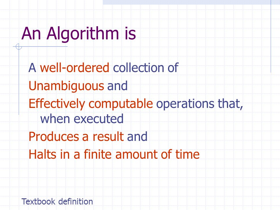An Algorithm is A well-ordered collection of Unambiguous and Effectively computable operations that, when executed Produces a result and Halts in a finite amount of time Textbook definition
