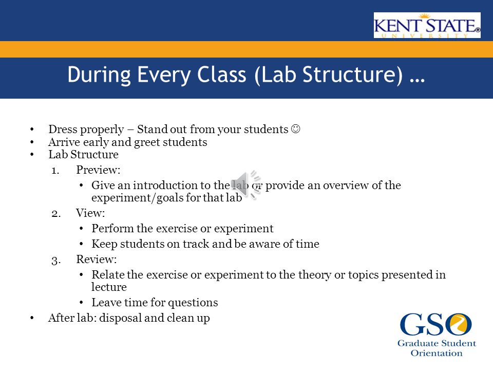 Before your first class … Find a contact for additional resources Go over the assigned lab manual or exercise – Familiarize yourself with the equipment and materials involved – DO THE LAB YOURSELF IF NECESSARY – Determine all safety measures – Attend a lab that's early in the week Plan your teaching strategy – time management