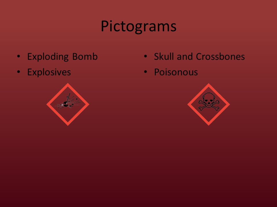 Pictograms Exploding Bomb Explosives Skull and Crossbones Poisonous