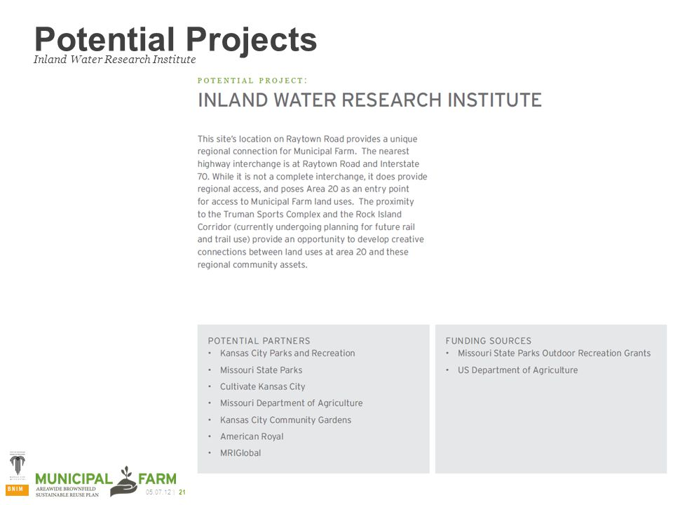 | 21 Potential Projects Inland Water Research Institute