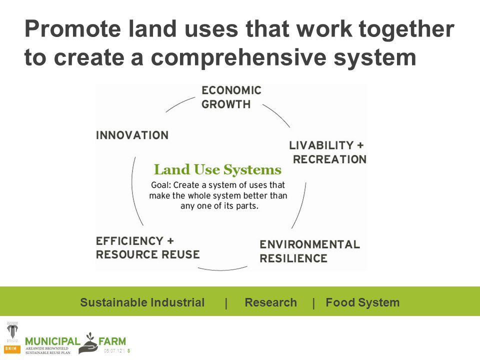 | 8 Promote land uses that work together to create a comprehensive system Sustainable Industrial | Research | Food System