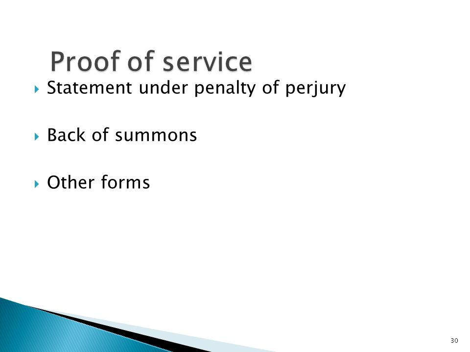  Statement under penalty of perjury  Back of summons  Other forms 30