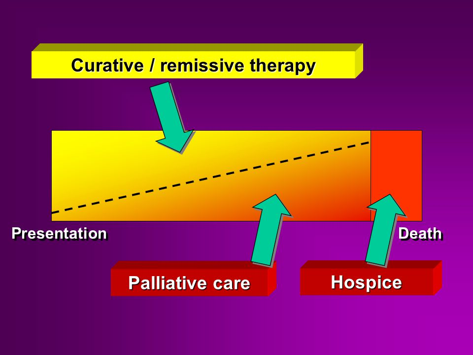 Hospice Palliative care Curative / remissive therapy Presentation Death