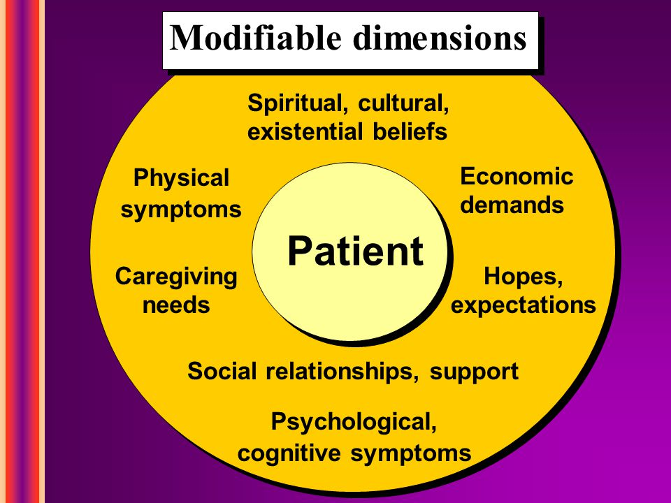 Modifiable dimensions Psychological, cognitive symptoms Physical symptoms Caregiving needs Hopes, expectations Economic demands Social relationships, support Patient Spiritual, cultural, existential beliefs