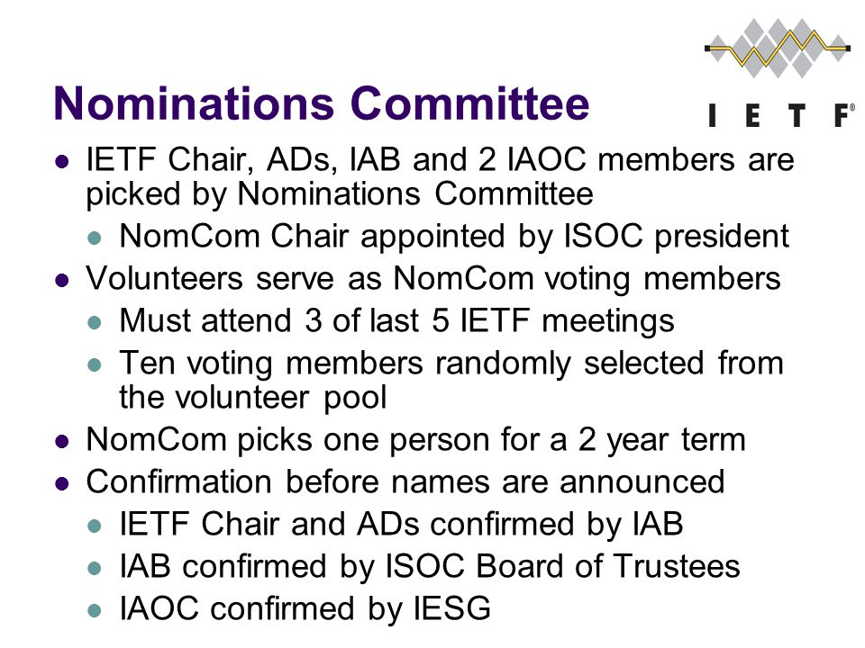 Nominations Committee IETF Chair, ADs, IAB and 2 IAOC members are picked by Nominations Committee NomCom Chair appointed by ISOC president Volunteers serve as NomCom voting members Must attend 3 of last 5 IETF meetings Ten voting members randomly selected from the volunteer pool NomCom picks one person for a 2 year term Confirmation before names are announced IETF Chair and ADs confirmed by IAB IAB confirmed by ISOC Board of Trustees IAOC confirmed by IESG