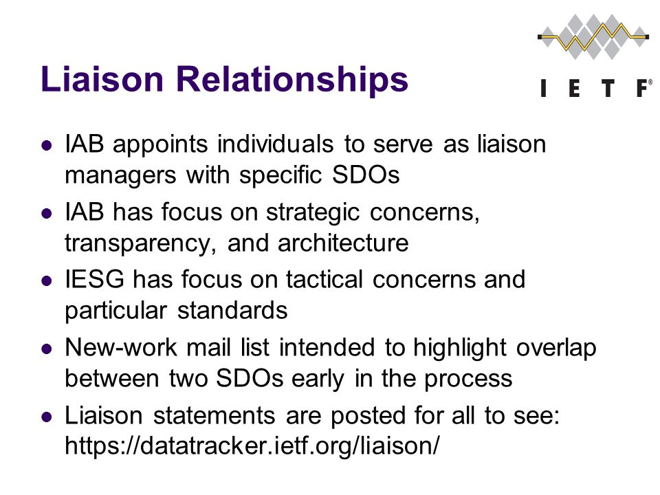 Liaison Relationships IAB appoints individuals to serve as liaison managers with specific SDOs IAB has focus on strategic concerns, transparency, and architecture IESG has focus on tactical concerns and particular standards New-work mail list intended to highlight overlap between two SDOs early in the process Liaison statements are posted for all to see:
