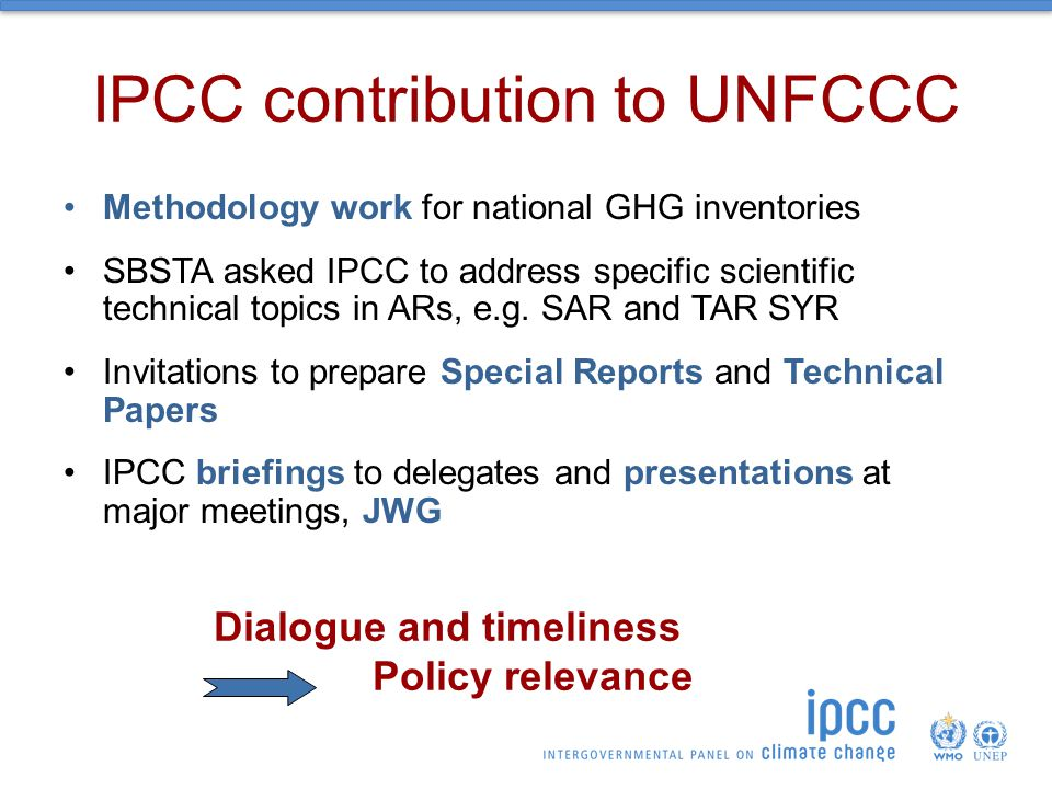 IPCC contribution to UNFCCC Methodology work for national GHG inventories SBSTA asked IPCC to address specific scientific technical topics in ARs, e.g.