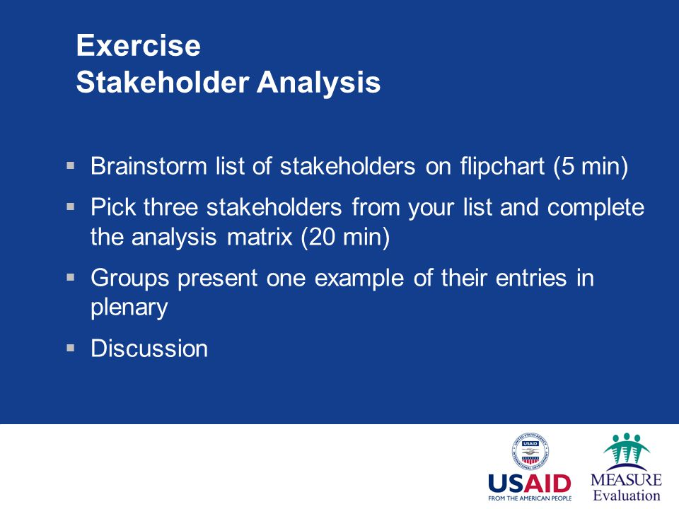 Exercise Stakeholder Analysis  Brainstorm list of stakeholders on flipchart (5 min)  Pick three stakeholders from your list and complete the analysis matrix (20 min)  Groups present one example of their entries in plenary  Discussion