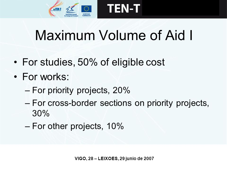 VIGO, 28 – LEIXOES, 29 junio de 2007 Maximum Volume of Aid I For studies, 50% of eligible cost For works: –For priority projects, 20% –For cross-border sections on priority projects, 30% –For other projects, 10%