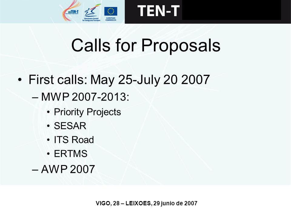 VIGO, 28 – LEIXOES, 29 junio de 2007 Calls for Proposals First calls: May 25-July –MWP : Priority Projects SESAR ITS Road ERTMS –AWP 2007