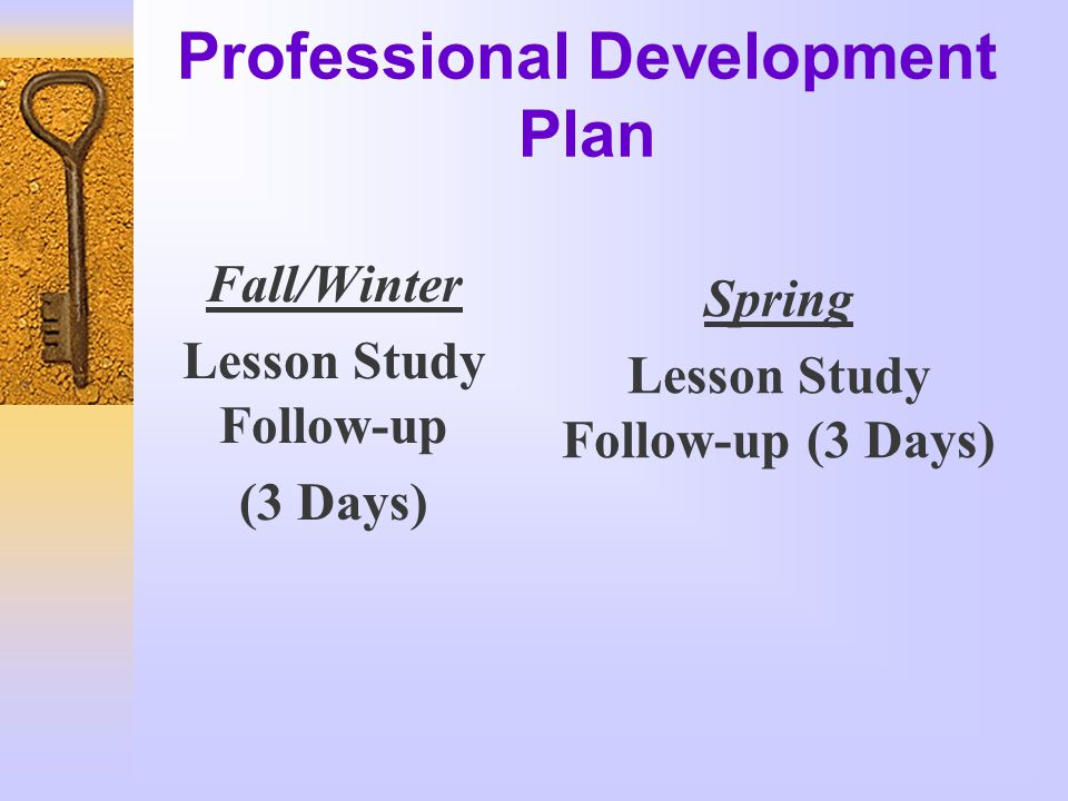 Professional Development Plan Fall/Winter Lesson Study Follow-up (3 Days) Spring Lesson Study Follow-up (3 Days)