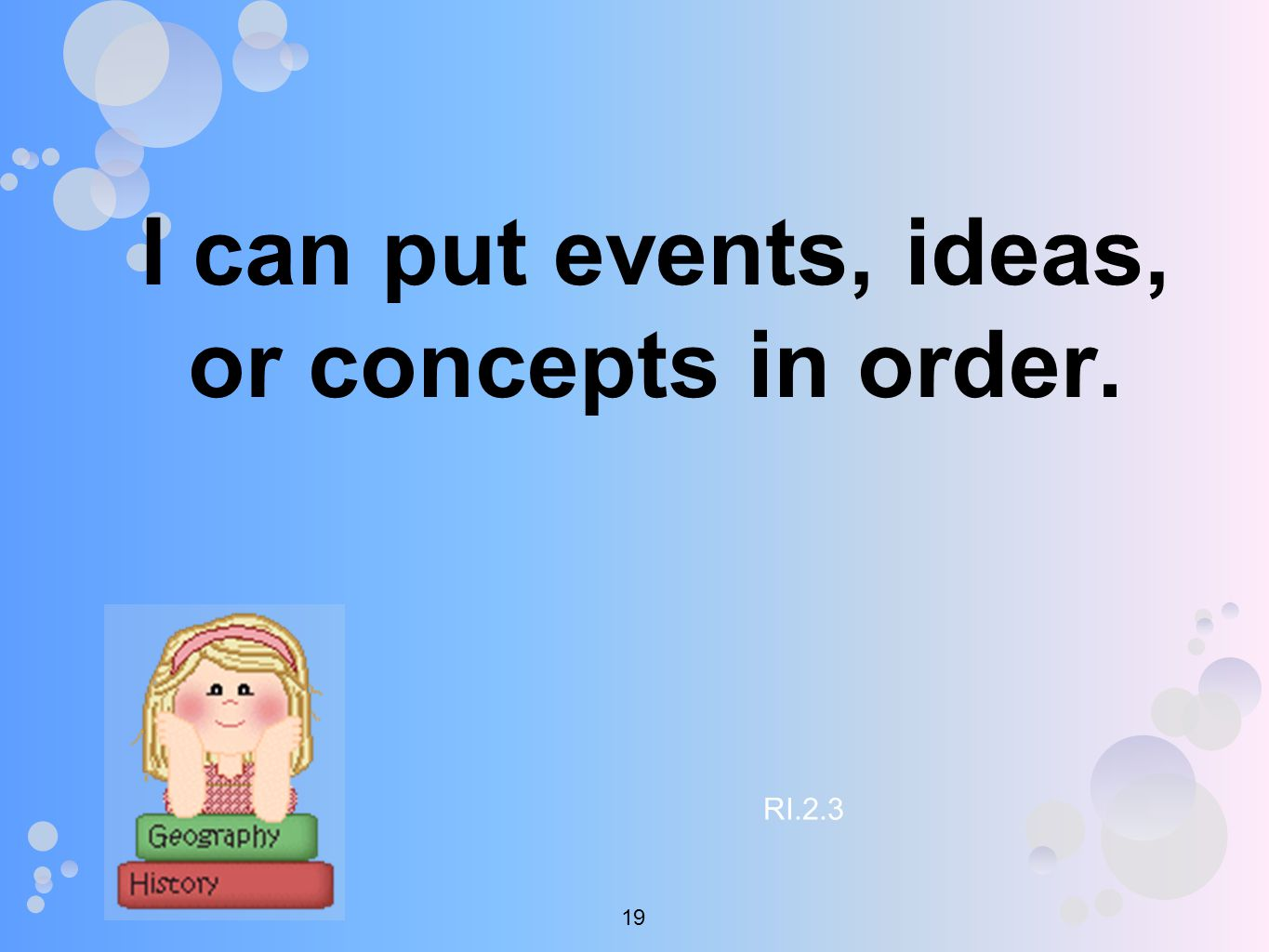 I can put events, ideas, or concepts in order. RI