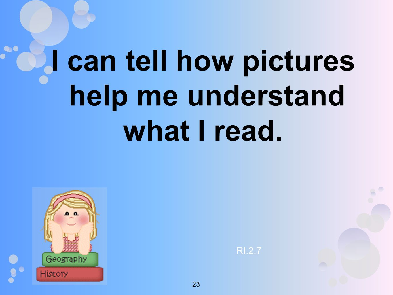 I can tell how pictures help me understand what I read. RI