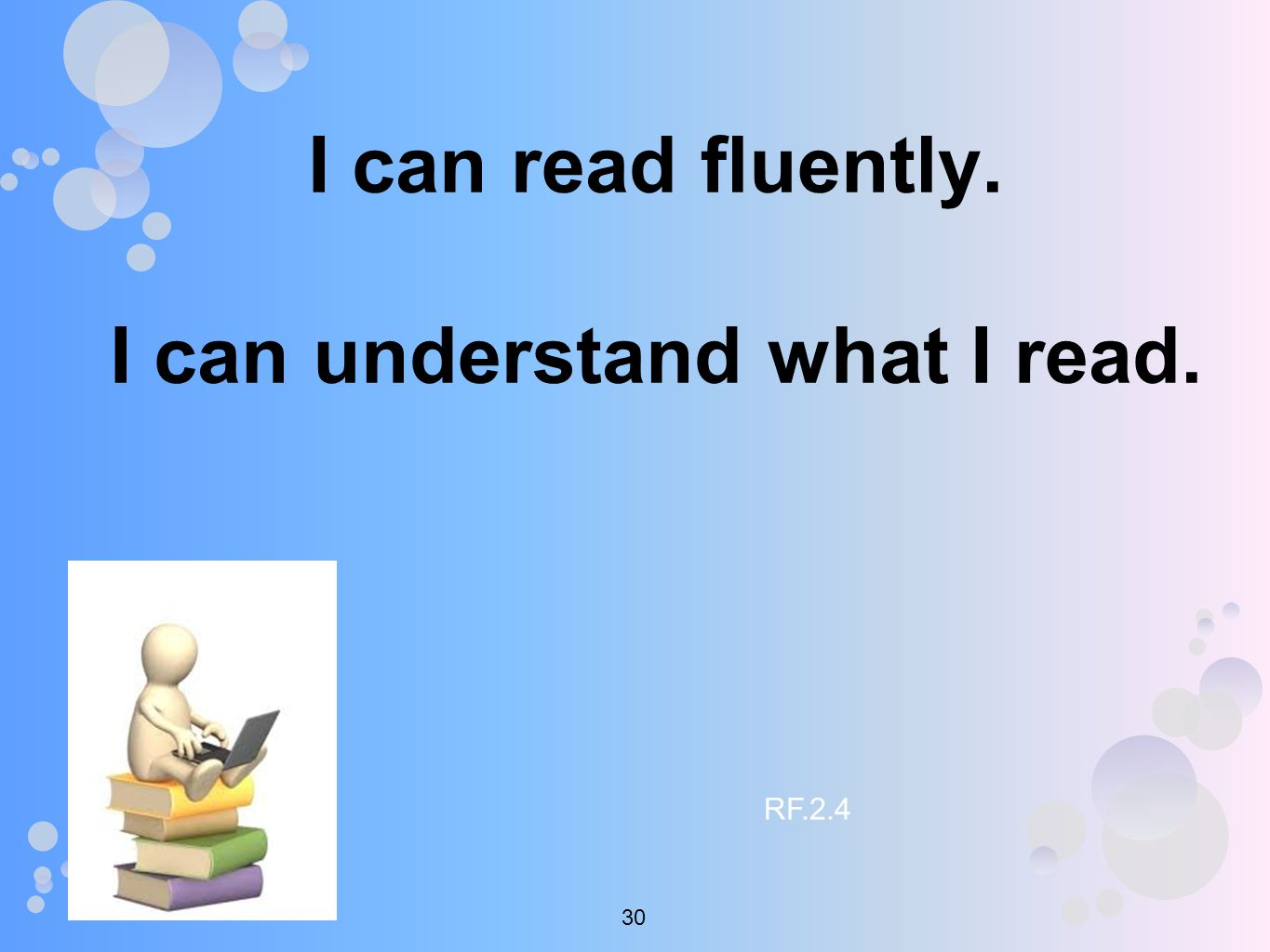 I can read fluently. I can understand what I read. RF