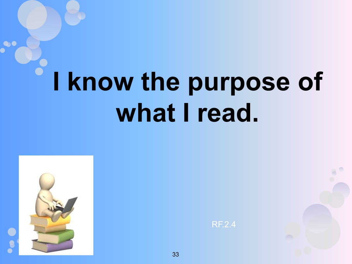 I know the purpose of what I read. RF