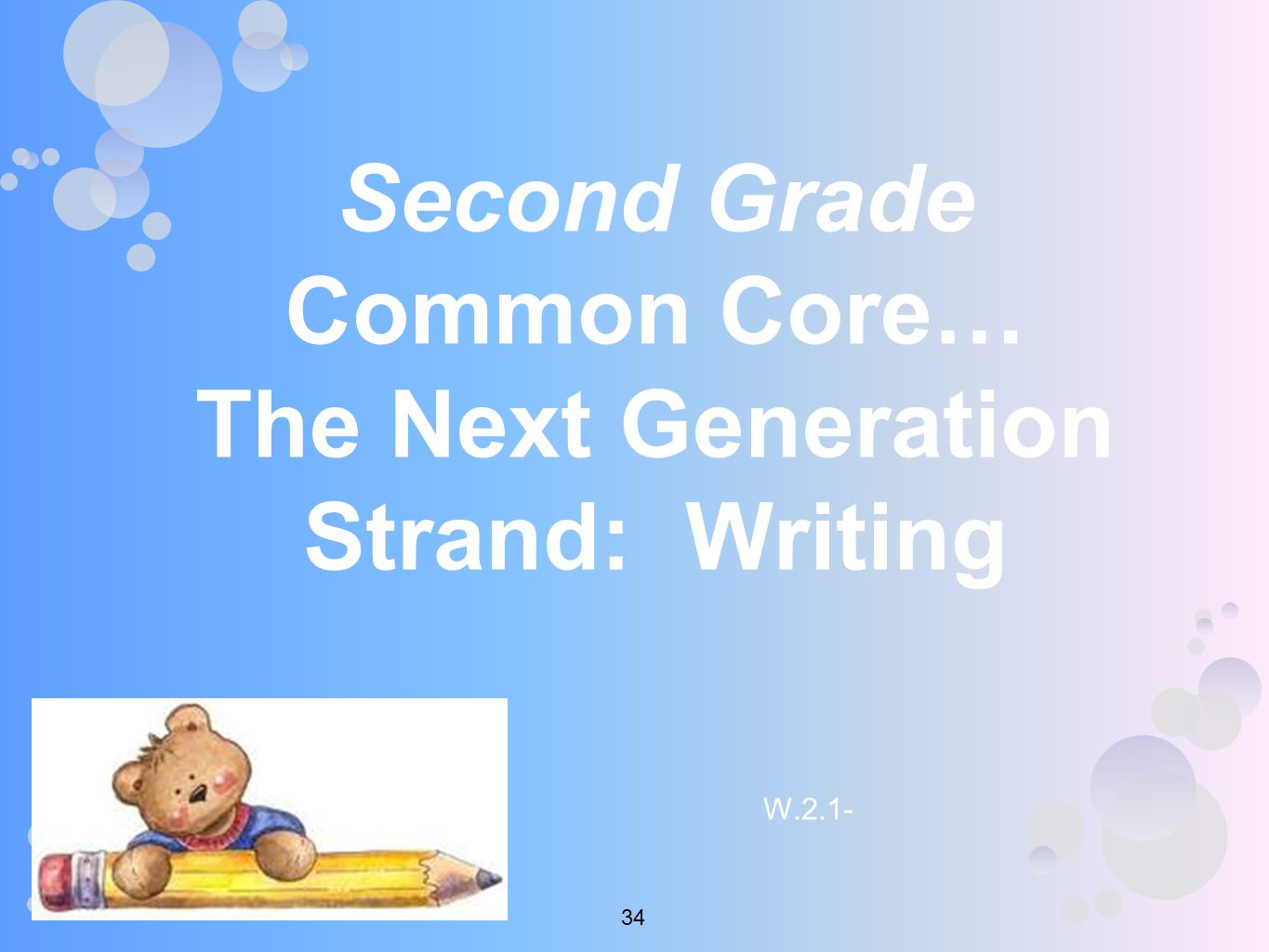 Second Grade Common Core… The Next Generation Strand: Writing W