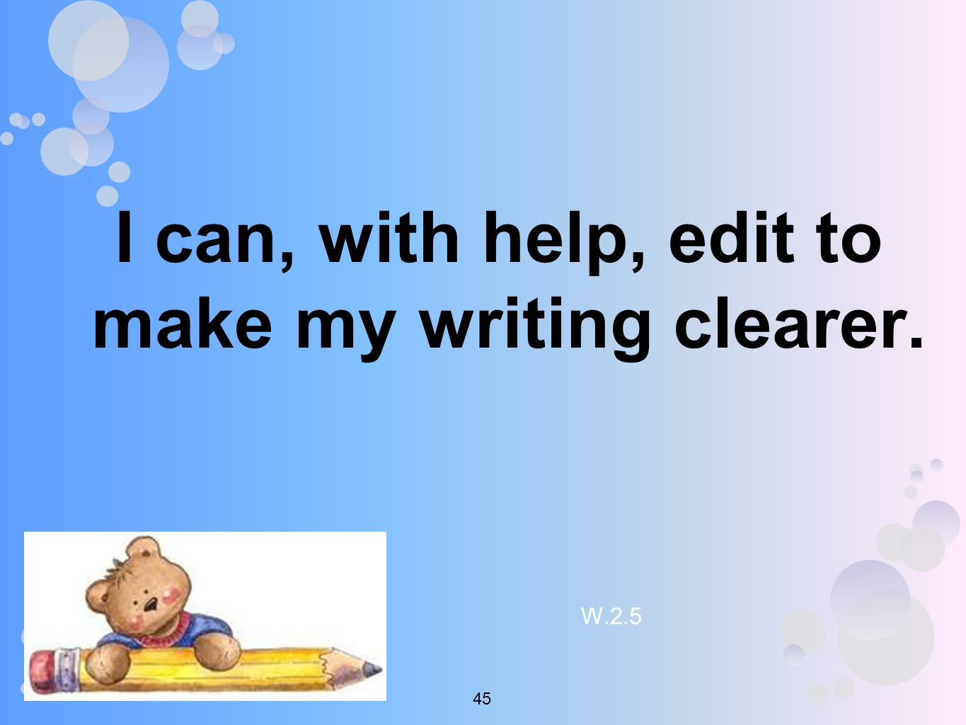 I can, with help, edit to make my writing clearer. W
