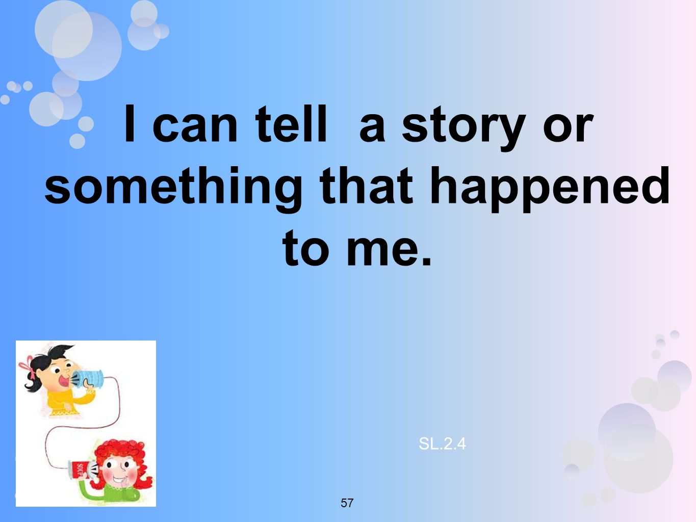 I can tell a story or something that happened to me. SL
