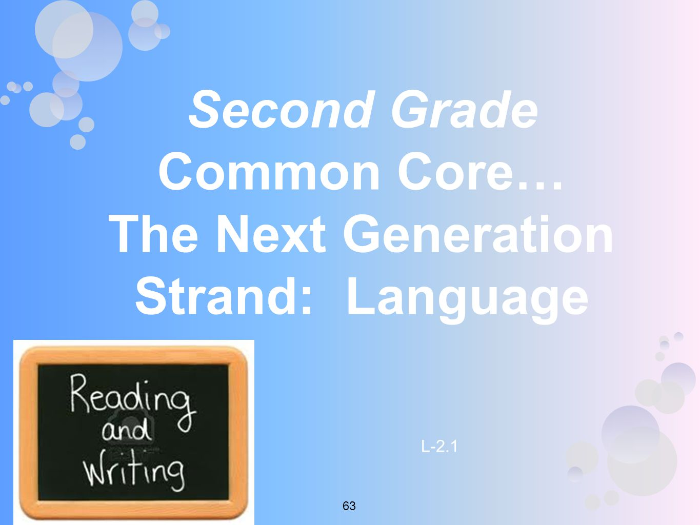 Second Grade Common Core… The Next Generation Strand: Language L