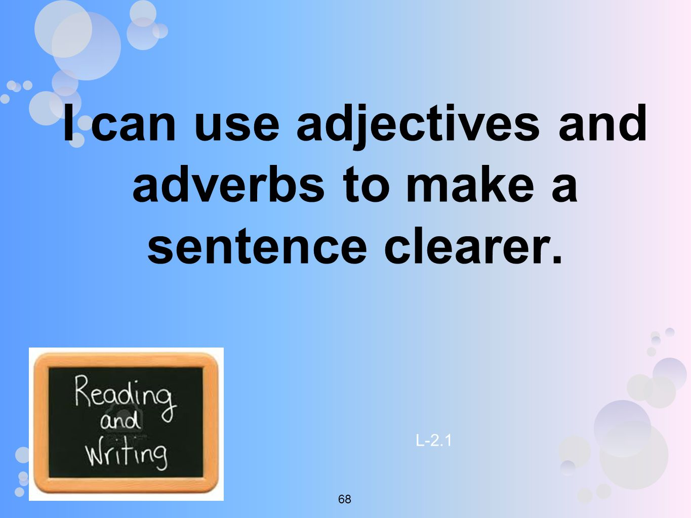 I can use adjectives and adverbs to make a sentence clearer. L
