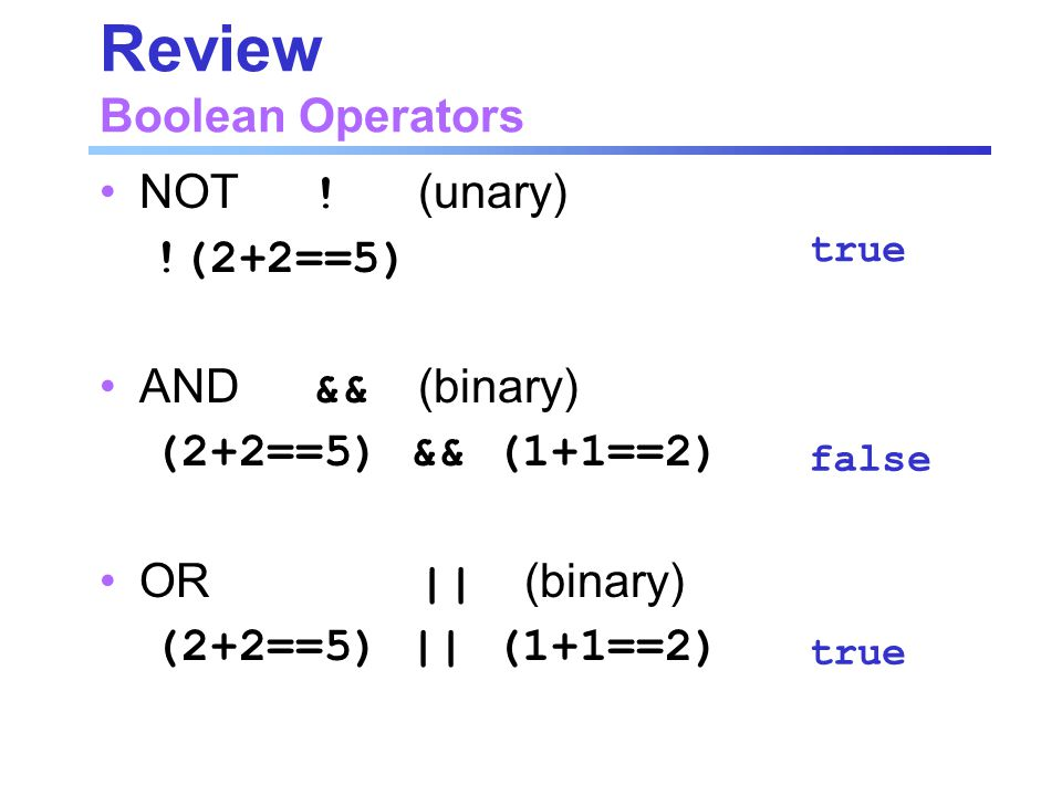 Review Boolean Operators NOT .