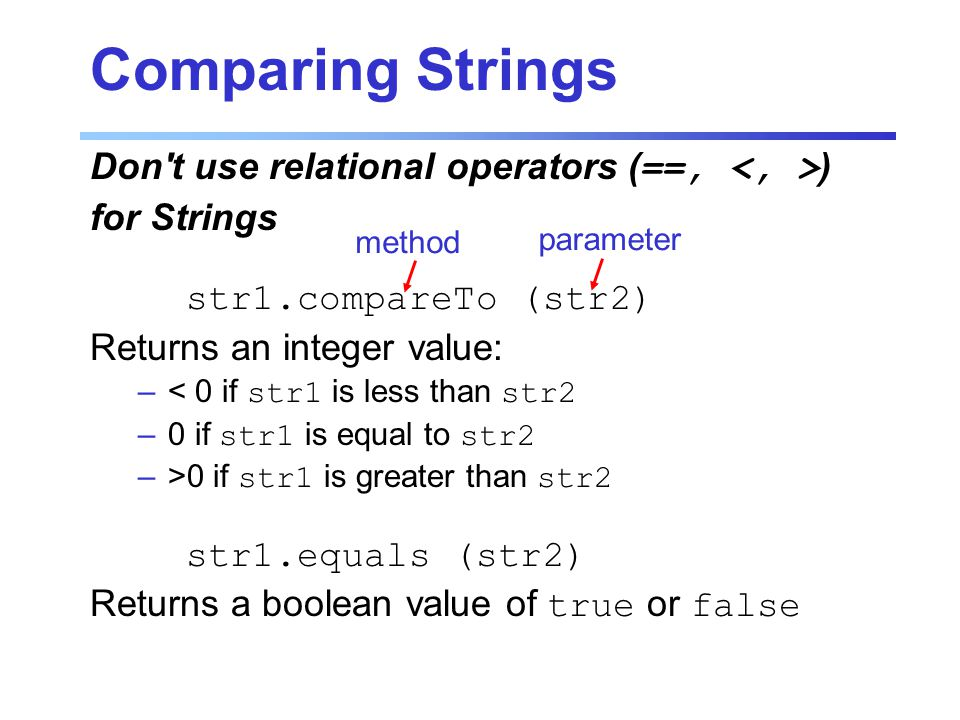 Comparing Strings Don t use relational operators (==, ) for Strings str1.compareTo (str2) Returns an integer value: –< 0 if str1 is less than str2 –0 if str1 is equal to str2 –>0 if str1 is greater than str2 str1.equals (str2) Returns a boolean value of true or false method parameter