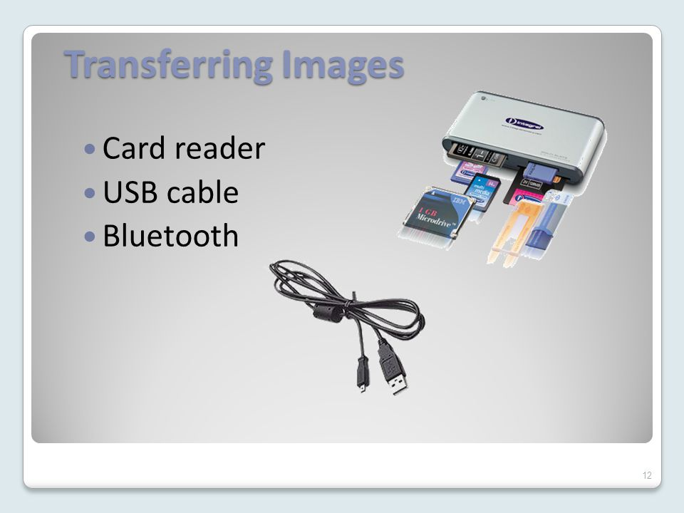 Transferring Images Card reader USB cable Bluetooth 12