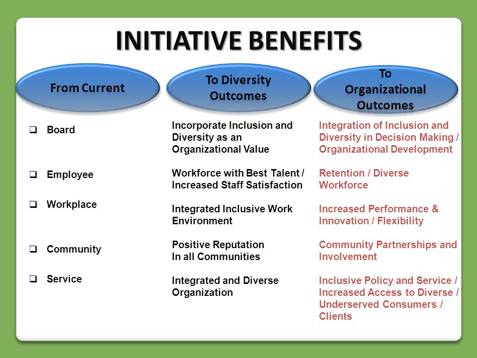  Board  Employee  Workplace  Community  Service Incorporate Inclusion and Diversity as an Organizational Value Workforce with Best Talent / Increased Staff Satisfaction Integrated Inclusive Work Environment Positive Reputation In all Communities Integrated and Diverse Organization Integration of Inclusion and Diversity in Decision Making / Organizational Development Retention / Diverse Workforce Increased Performance & Innovation / Flexibility Community Partnerships and Involvement Inclusive Policy and Service / Increased Access to Diverse / Underserved Consumers / Clients To Organizational Outcomes To Diversity Outcomes From Current INITIATIVE BENEFITS