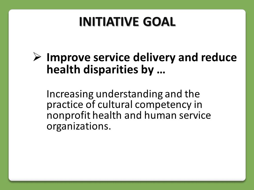  Improve service delivery and reduce health disparities by … Increasing understanding and the practice of cultural competency in nonprofit health and human service organizations.