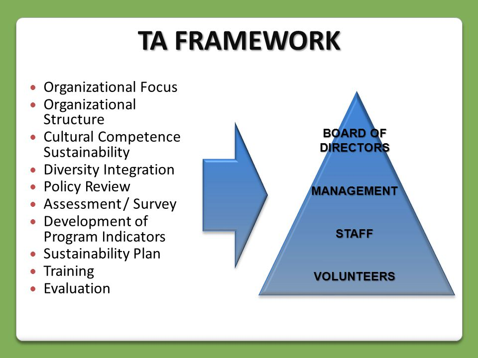 Organizational Focus Organizational Structure Cultural Competence Sustainability Diversity Integration Policy Review Assessment / Survey Development of Program Indicators Sustainability Plan Training Evaluation BOARD OF DIRECTORS MANAGEMENTSTAFFVOLUNTEERS TA FRAMEWORK