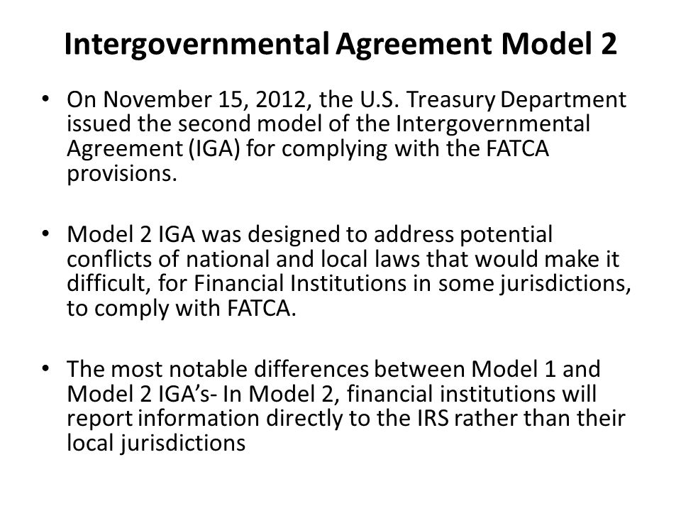 Intergovernmental Agreement Model 2 On November 15, 2012, the U.S.
