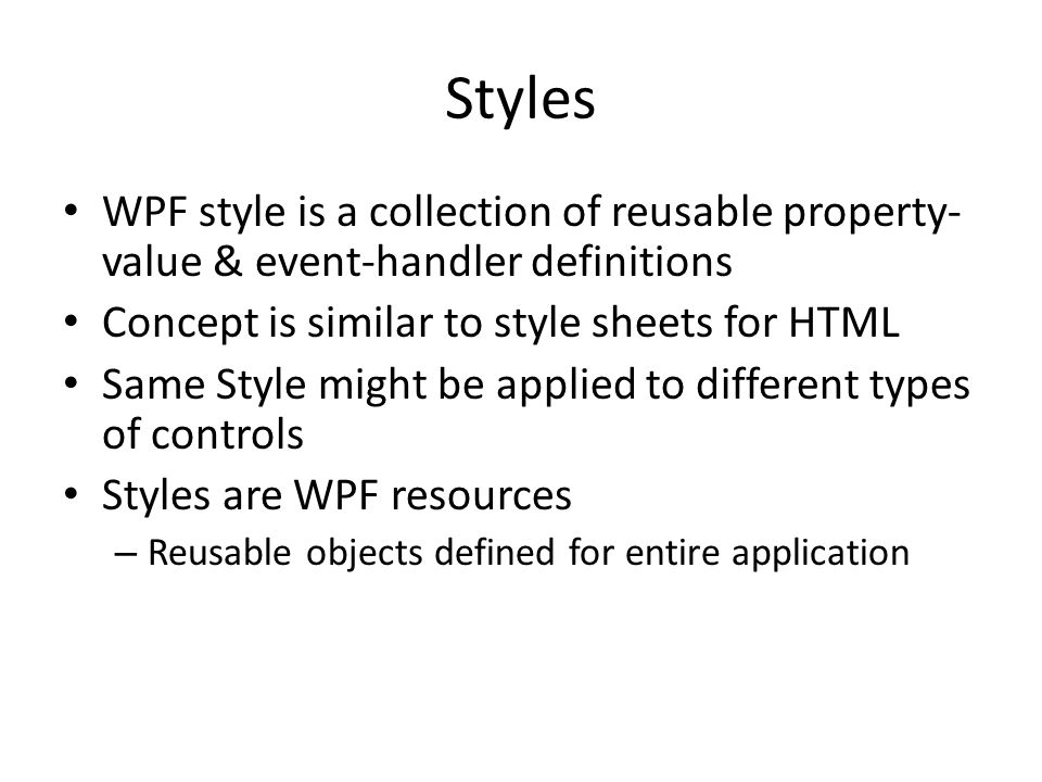 Introduction to Windows Presentation Foundation (WPF) Dr  Frank