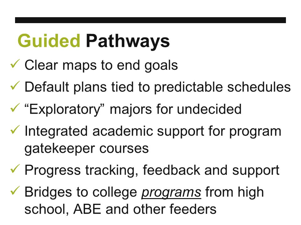 Guided Pathways Clear maps to end goals Default plans tied to predictable schedules Exploratory majors for undecided Integrated academic support for program gatekeeper courses Progress tracking, feedback and support Bridges to college programs from high school, ABE and other feeders