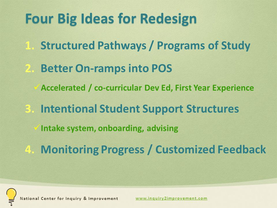 National Center for Inquiry & Improvement Four Big Ideas for Redesign 1.Structured Pathways / Programs of Study 2.Better On-ramps into POS Accelerated / co-curricular Dev Ed, First Year Experience 3.Intentional Student Support Structures Intake system, onboarding, advising 4.Monitoring Progress / Customized Feedback